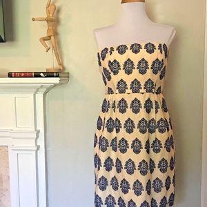 J Crew Blue Filigree Embroidered Strapless Dress